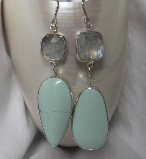 Square Rose Cut Moonstone & Turquoise Miss Matched Earrings