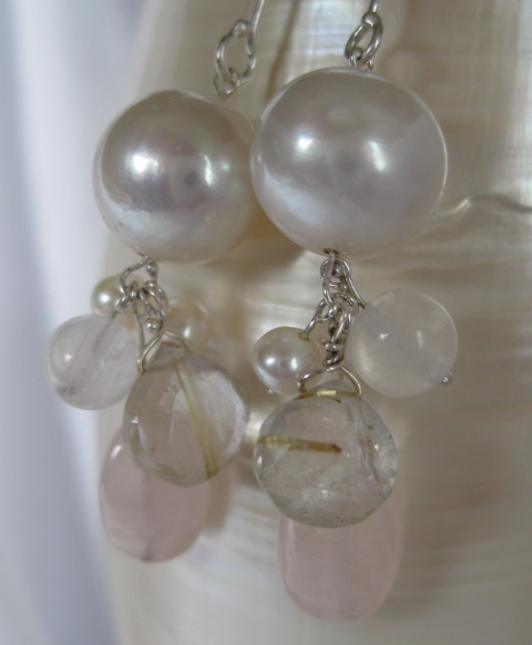 Pearl, Rutilated Quartz, & Rose Quartz Earrings