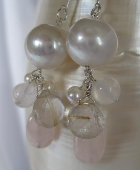 Pearl, Rutilated Quartz, & Rose Quartz Earrings