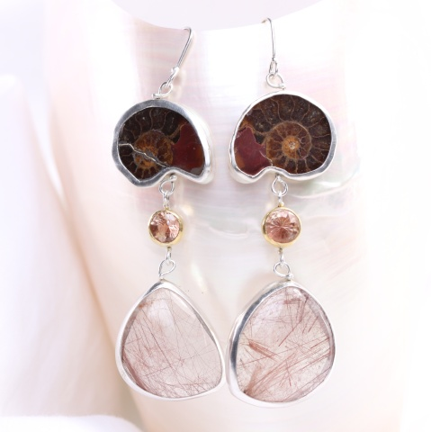 Agatized Ammonite Earrings with Oregon Sunstones & Red Rutilated Quarz