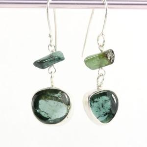 Blue Tourmaline Earrings with Raw Tourmaline Crystals