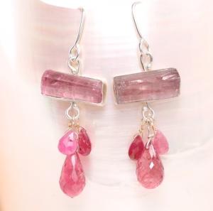 Raw Pink Tourmaline Crystals with Pink Tourmaline & Pink Sapphire Briolettes