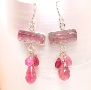 Raw Pink Tourmaline Crystals with Pink Tourmaline & Pink Sapphire Briolettes
