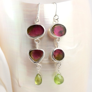 Watermelon Tourmaline Slice Double Drop Earrings with Peridot Briolettes