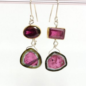 Watermelon Slice Tourmaline Earrings with Mis Matched Rubelites