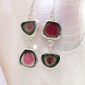 "Watermelon Tourmaline Slice ""Miss Matched"" Double Drop Earrings"