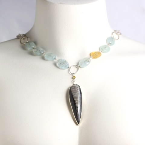 Wanga Necklace Pendant: Orthoceras Yellow Sapphire Aquamarines & Citrine