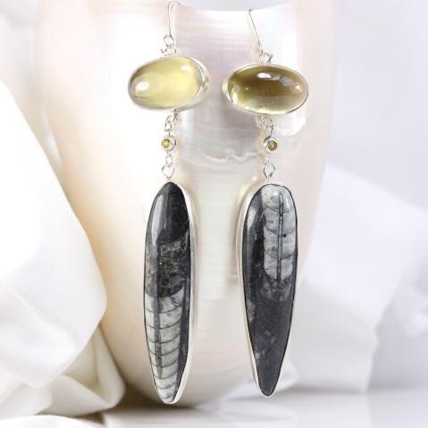 Wanga Earrings: Orthoceras Yellow Sapphires & Lemon Quartz