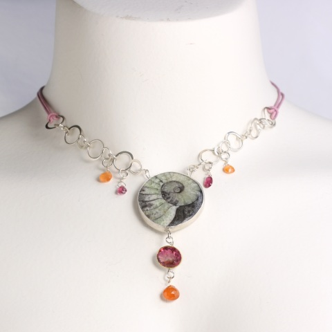 Wanga Necklace: Ammonite Rubelite with Pink Tourmaline & Spessartite (Orange Garnet) Briolettes