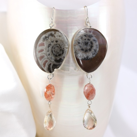 Wanga Earrings: Ammonites Sunstones Oregon Sunstone Briolettes