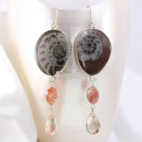 Wanga Earrings: Ammonites Sunstones Oregon Sunstone Briolettes