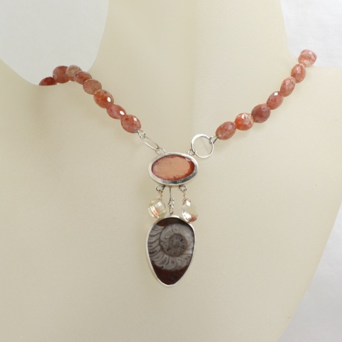 Wanga Necklace: Ammonite Oregon Sunstone & Oregon Sunstone Briolettes Sunstone Beads