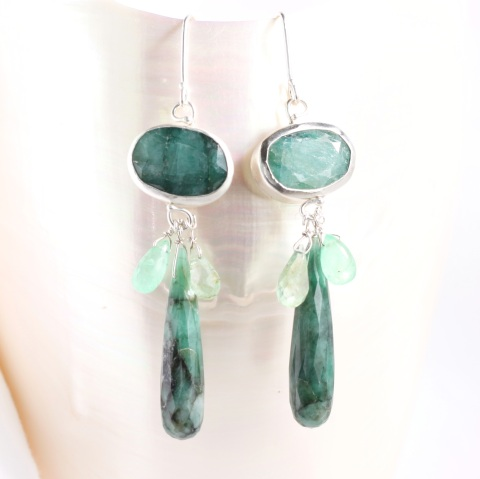"""Raw"" Emerald Earrings with Gem Quality Briolettes"