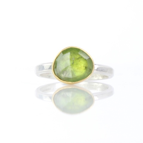 Rose Cut Green Garnet Ring