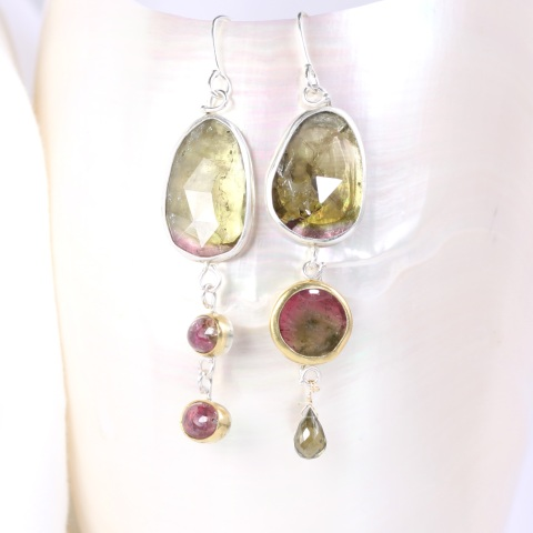 "Rose Cut Green & Watermelon Tourmaline ""Miss Matched"" Earrings"