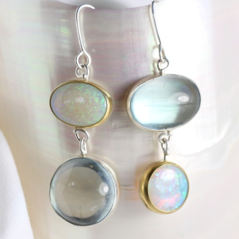 "Aquamarine & Australian Opal ""Miss Matched"" Earrings"