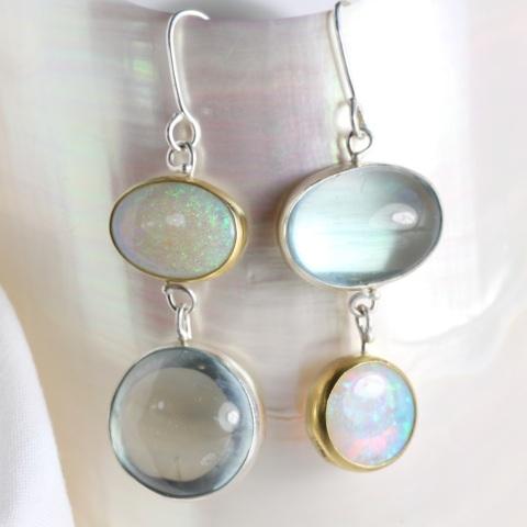 """Aquamarine & Australian Opal """"Miss Matched"""" Earrings"""