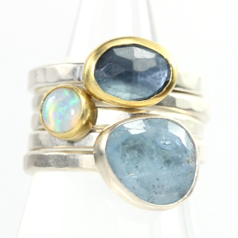 Stacking Rings: Rose Cut Aquamarine, Australian  Opal & Rose Cut London Blue Topaz
