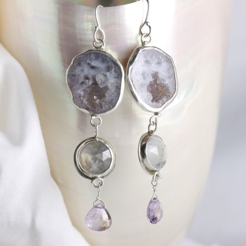 Baby Geode Earrings With Rose Cut Rainbow Moonstones & Ametrine Briolettes