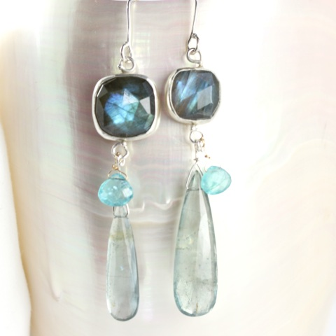 Rose Cut Labradorite Miss Matched Earrings With Moss Aquamarine Drops & Apatite Briolettes