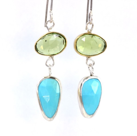 Rose Cut Peridot Earrings With Rose Cut Turquoise Drops