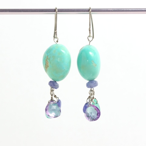 "Natural Turquoise ""Nugget"" Earrings With Tanzanite, Amethyst & Apatite Briolette Drops"