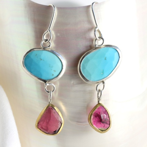 Rose Cut Turquoise Earrings With Rose Cut Rubelite Drops