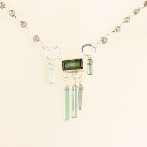 Emerald Cut Green Tourmaline Necklace with Raw Tourmaline Crystals & Smokey Quartz Rosary Chain