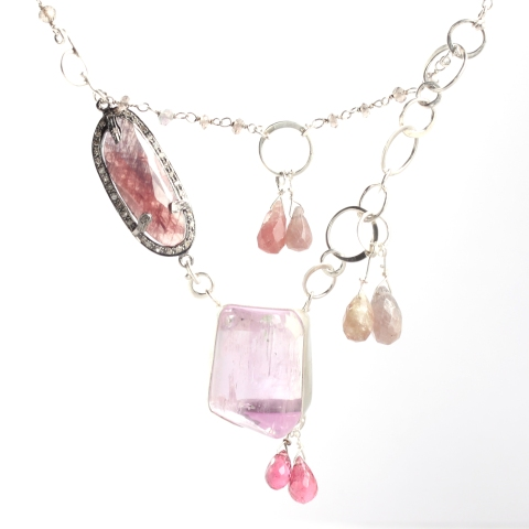 Pink Kunzite Necklace With Rose Cut Sapphire Surrounded by Diamonds, Umba Sapphire Briolettes & Pink Tourmaline Briolettes