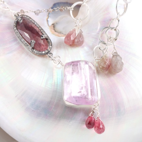 Pink Kunzite Sapphire Diamond Necklace CloseUp