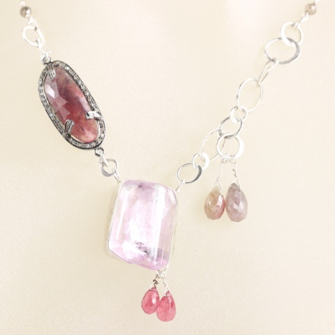 Pink Kunzite Necklace with Pink Tourmaline Briolettes, Umba Sapphire Briolettes & Rose Cut Sapphire with Diamonds