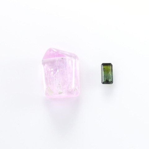 Pink Kunzite Crystal & Emerald Cut Green Tourmaline