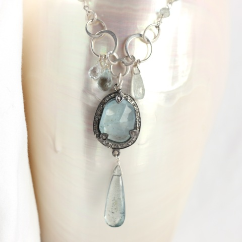 Rose Cut Aquamarine In Diamond Pave Setting with Moss Aquamarine Drop & Aquamarine Briolettes
