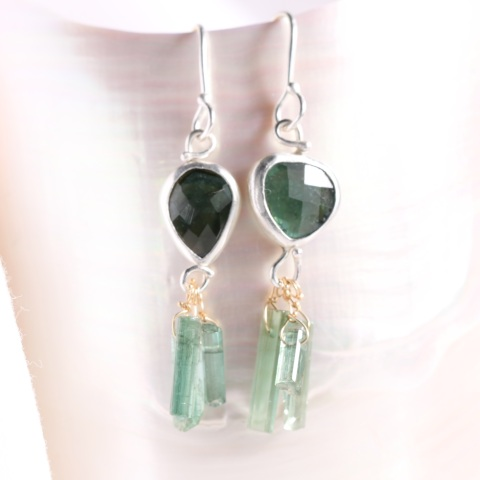 Rose Cut  Indicolite (Blue Tourmaline) Miss Matched Earrings with Tourmaline Crystal Fringe