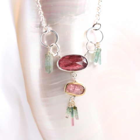 Rose Cut Pink Tourmaline Necklace Pendant with Tourmaline Crystal Fringe
