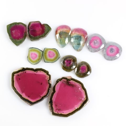 Batch of Watermelon Tourmaline Slices & Rose Cuts