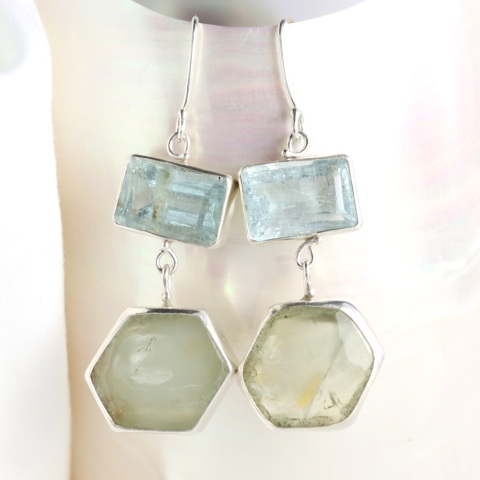 Emerald Cut Aquamarine Earrings With Green Beryl Slices