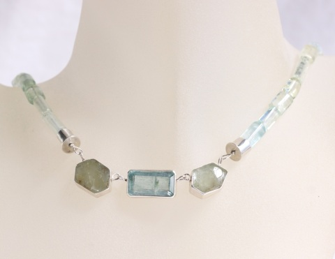 Green Beryl Slice Statement Necklace With Emerald Cut Aquamarine