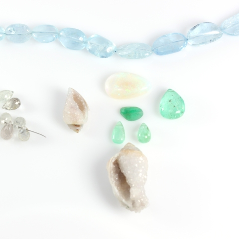Components For Custom Necklace - Opal, Aquamarine,  Emerald, White Sapphires & Druzy Fossil Seashells