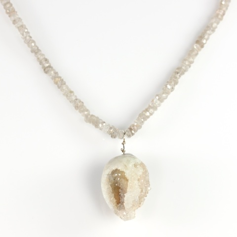 Druzy Shell Fossil Necklace Pendant With Natural Zircon