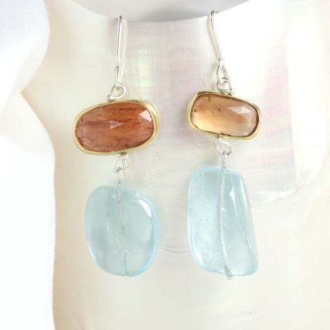 "Rose Cut Imperial Topaz Earrings With Aquamarine Drops ""Miss Matched"""