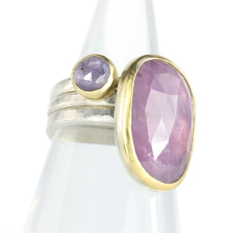Rose Cut Purple Sapphire Stacking Rings