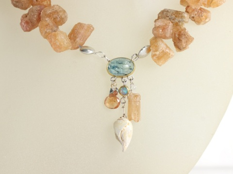 Seashell Fossil Druzy Necklace With Imperial Topaz Aquamarine Opal & Sapphire Briolettes