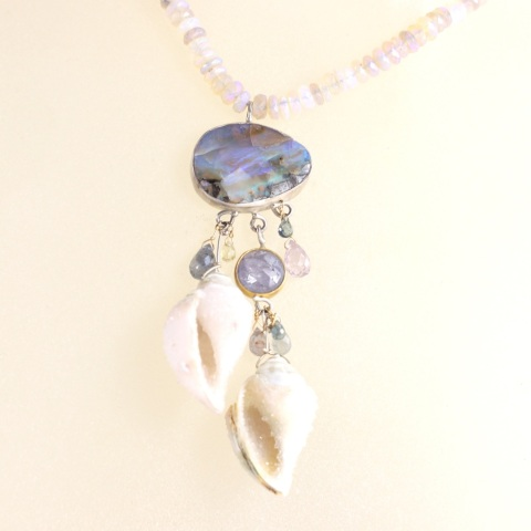 Seashell Fossil Druzy Necklace With Boulder Opal Rose Cut Purple Ceylon Sapphire & Sapphire Briolettes