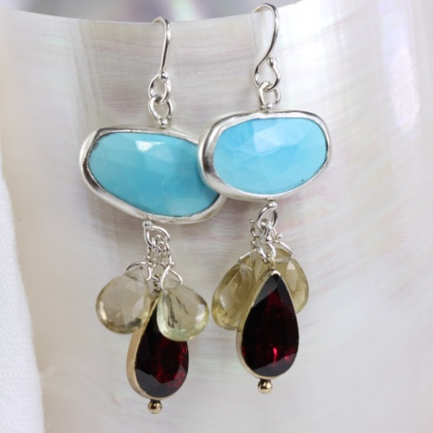 Reworked Garnet Earrings With Turquoise & Lemon Quartz