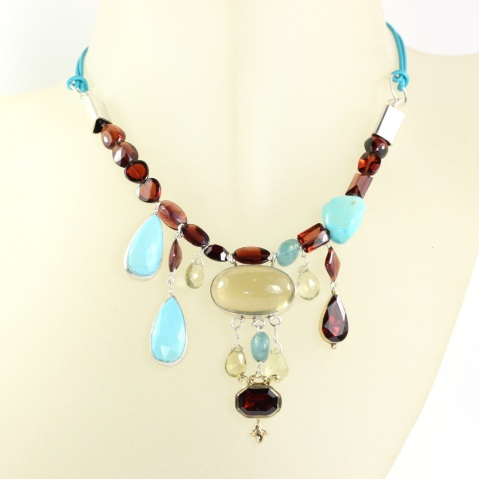 Reworked Garnet Necklace - With Lemon Quartz, Turquoise & Apatite On Leather Cord