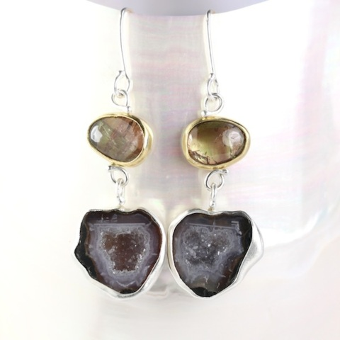 Andalusite Garnet Earrings With Baby Geode Drops