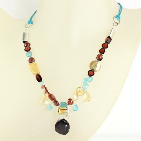 Garnet Citrine Apatite Necklace On Turquoise Leather