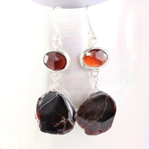 Rose Cut Red Garnet Earrings With Raw Pyrope Crystals