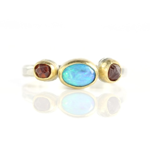 Lightning Ridge Opal & Spessartite Garnet Crystal Ring